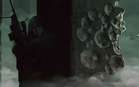 Картинка туман, оружие, маска, арт, солдаты, лазер, мужчина