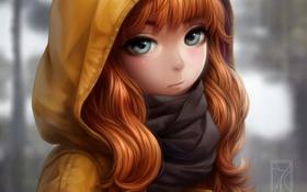 Картинка девушка, аниме, шарф, арт, капюшон, kotikomori
