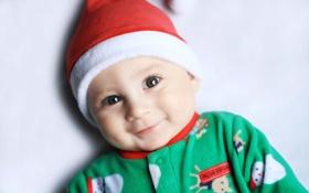 Обои дети, улыбка, фон, обои, настроения, шапка, новый год