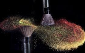 Обои макро, кисти, Rainbow Glitter Dust