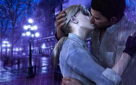 Обои дождь, поцелуй, rain, Resident Evil, kiss, fanart, Jill Valentine