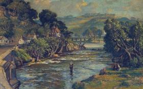 Картинка деревья, пейзаж, река, дома, картина, рыбак, Devon