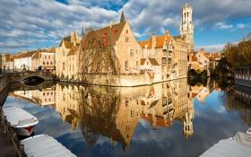 Картинка мост, лодка, дома, канал, Бельгия, Брюгге