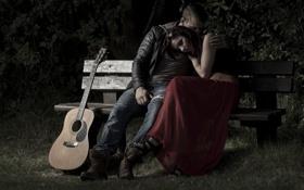 Обои люди, настроение, гитара, скамья