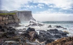 Картинка море, волны, облака, брызги, шторм, камни, скалы