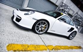Картинка машина, авто, белый, порш, суперкар, автомобиль, porsche