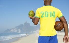 Обои FIFA, Brasil, football, кубок мира, кокос, World Cup, футболка