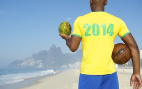 Обои пляж, мяч, кокос, футболка, Бразилия, football, кубок мира
