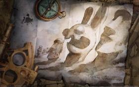Картинка карта, кролики, остров Пасхи, кляксы, компас, чернила, штурвал