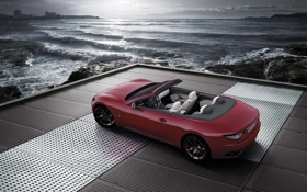 Обои море, кабриолет, красная, Maserati GranCabrio Sport