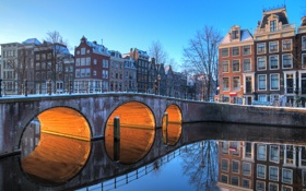Обои light, bridge, water, Amsterdam, buildings, canal