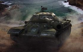 Обои вода, скалы, танк, USSR, СССР, танки, WoT