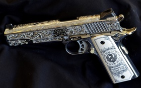 Картинка silver, pistol, Ruger, handgun, decorated
