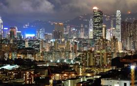 Картинка свет, ночь, город, огни, здания, дома, Гонконг