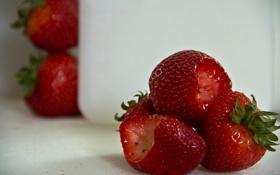 Обои поверхность, клубника, красная, надкусанная
