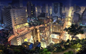 Обои свет, ночь, город, рисунок, небоскребы, ворота, Япония