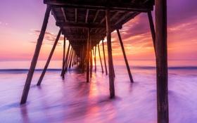 Обои закат, мост, море