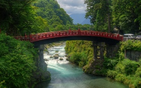Обои лес, горы, мост, река, Япония, Japan, камни.