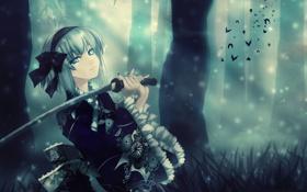 Обои голубой, обои, меч, аниме