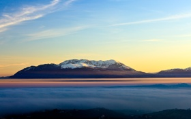 Обои туман, гора, Небо