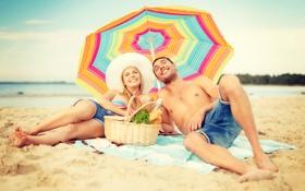 Обои пляж, лето, отдых, summer, beach, vacation, влюбленная пара