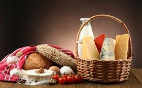 Обои корзина, яйца, сыр, молоко, хлеб, помидоры, чеснок