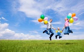 Обои шарики, радость, природа, дети, праздник, семья