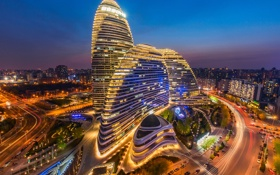 Обои город, огни, здания, вечер, КНР, Пекин, 望京SOHO
