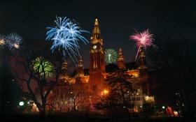 Обои ночь, огни, праздник, часы, башня, салют, фейерверк