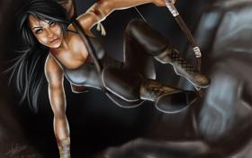 Картинка взгляд, девушка, лицо, оружие, прыжок, игра, лук