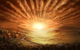 Обои пейзаж, небо, солнце, лес, дорожки, живопись, арт