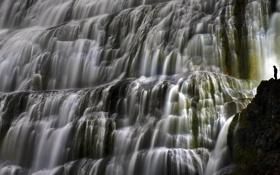 Обои скалы, водопад, поток, Dynjandi, Исландия, вода