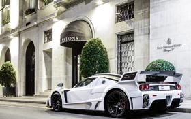 Картинка белый, ночь, Ferrari, суперкар, white, отель, supercar
