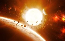Обои солнце, звезда, планета, астероиды