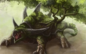 Обои дерево, черепаха, монстр, фэнтези, арт, гигантская