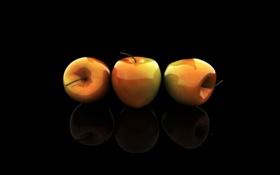 Обои чёрный фон, яблоки, стекло, три