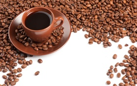 Картинка кофе, чашка, кофейные зерна, блюдце