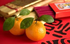 Обои листья, иероглифы, апельсины, свечи, макро, палочки
