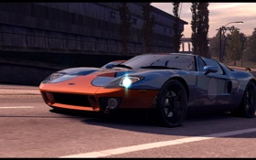 Обои город, гонка, классика, Ford GT40, Need for Speed Undercover