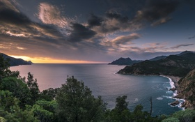 Обои corsica, sea, mountain, coast, sunset