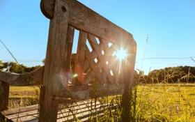 Картинка лучи, свет, скамейка, лавка, деревянная, солнечный