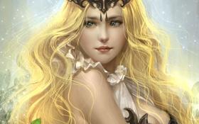 Обои девушка, волосы, корона, арт, блондинка
