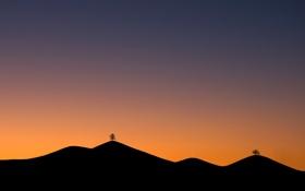 Картинка деревья, горы, дерево, рассвет, пейзажи, утро, горизонт