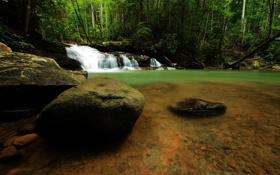 Картинка камни, река, поток, water, вода, stream, waterfall