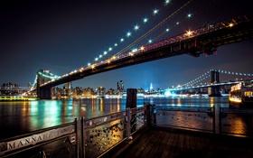 Обои ночь, мост, город, река, Нью-Йорк, подсветка, USA