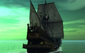 Обои море, мечта, парусник