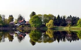 Обои город, река, фото, Германия, домик, Херцберг