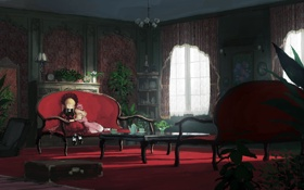 Картинка jumpei99, сон, rozen maiden, shinku, девочки, арт, интерьер