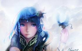 Обои девушка, птица, волосы, голубые