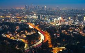 Обои огни, Ночь, Калифорния, USA, США, Los Angeles, California